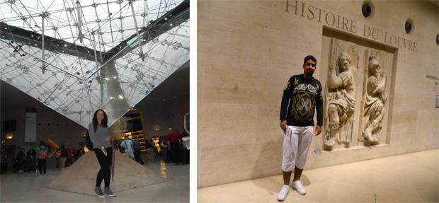 Pirâmide invertida e entrada história do Louvre que fica no Mezanino
