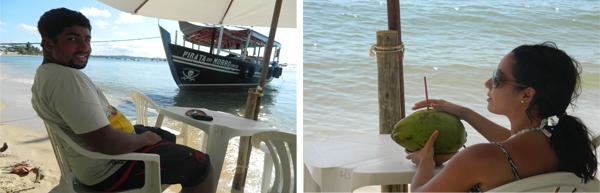 Esperando o almoço na beira da Praia de Gamboa