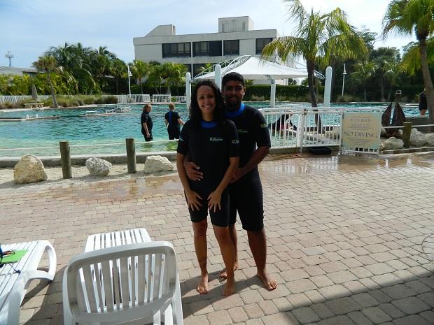 Roupa para interagir com os golfinhos - Miami Seaquarium