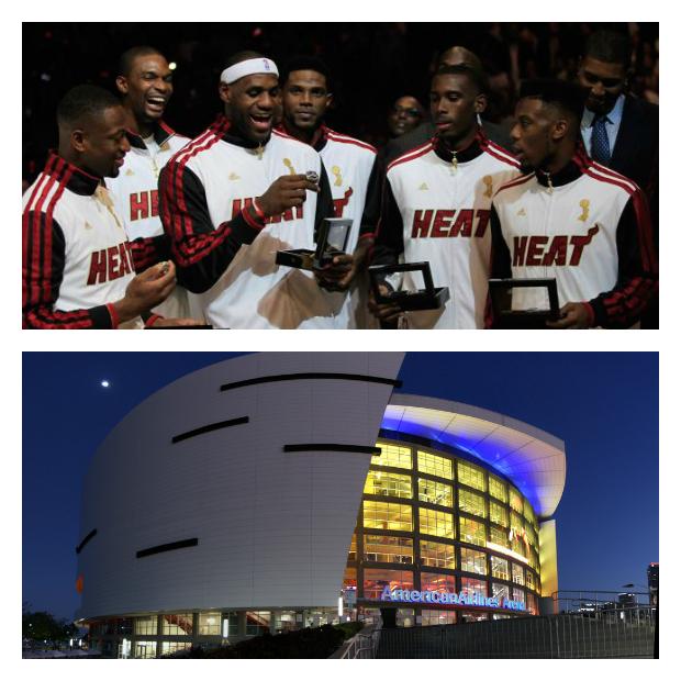 Jogadores do Miami Heat e a America Airlines Arena