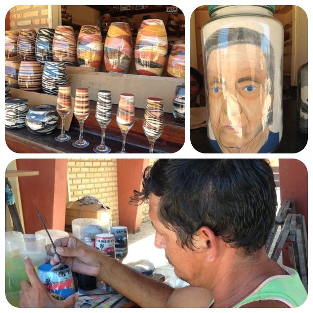 Arte em vasos com as areias de Morro Branco - CE