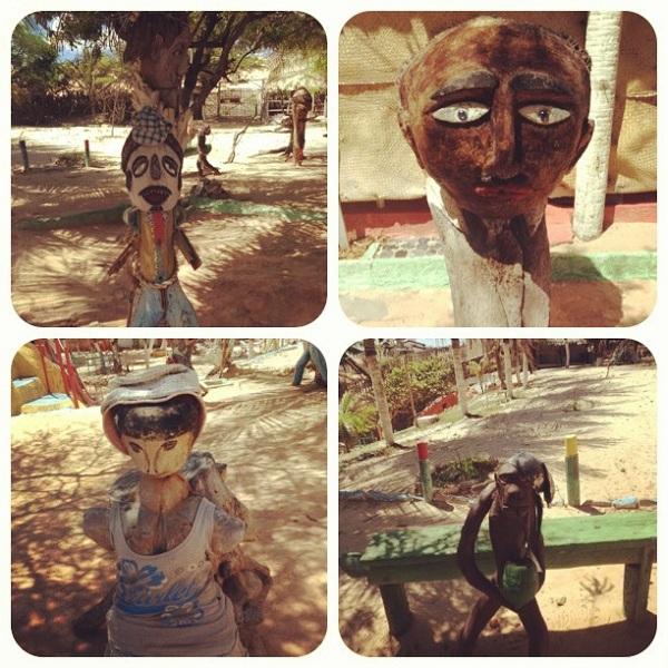 Esculturas em madeiras no Refúgio Dourado - Majorlândia - CE