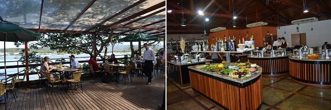 Vista da varanda e o buffet do restaurante