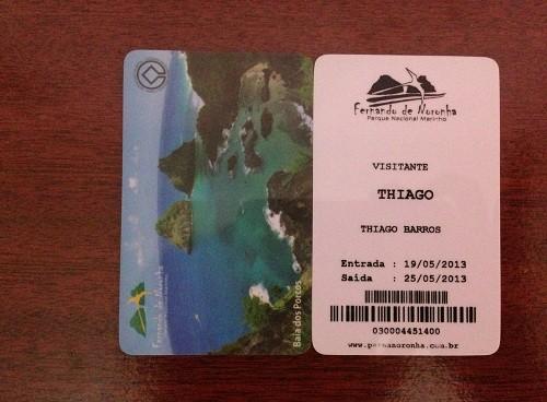 Cartão de acesso ao Parque Nacional Marinho