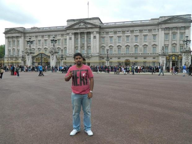 Comemorando o título do Heat em frente ao Palácio de Buckingham