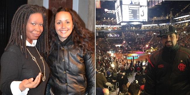 Aline e Whoopi, e eu no Barclays Center
