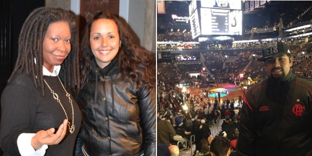 Aline e Whoopi, e eu no Barclays Center