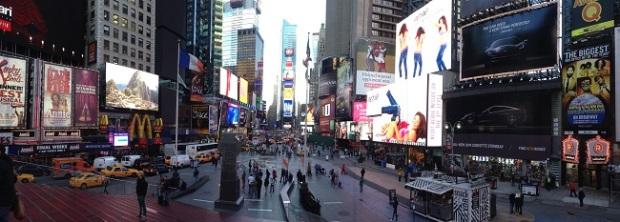Panoraâmica da tarde na Times Square