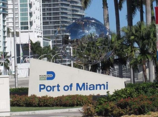 Porto de Miami é próximo do Bayside