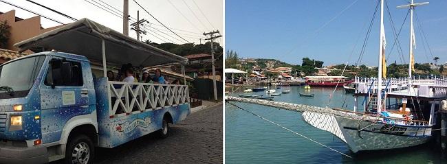 Passeio de Trolley e barco são boas opções para conhecer o balneário de Búzios.