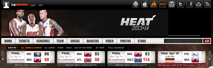 Miami Heat tem tabela no alto do site