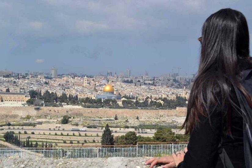 Vista de Jerusalém do alto do Monte das Oliveiras